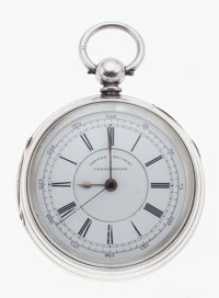 English Mark lion Silver Side Lever Fusee With Center Seconds Chronograph