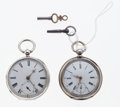 Timepieces:Pocket (pre 1900) , Two Swiss English Silver Key Wind Pocket Watches Runners. ...
