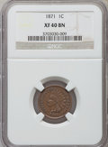 Indian Cents: , 1871 1C XF40 NGC. NGC Census: (37/379). PCGS Population (58/406).Mintage: 3,929,500. Numismedia Wsl. Price for problem fre...