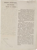 Miscellaneous:Ephemera, Circular Decree No. 45 of the Sovereign Constituent GeneralCongress, forming the states of Nuevo Leon and Coahuila andTexas...
