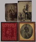 Photography:Tintypes, UNION SOLDIER TINTYPES - LOT OF THREE. Three young men, imaged inunknown photographer's studios, pose handsomely in their U...(Total: 3 Item)