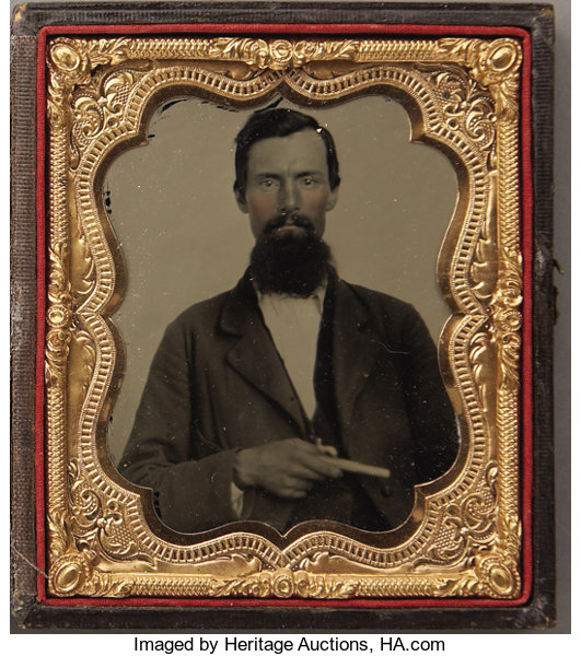 HAND-TINTED 1/6th PLATE TINTYPE OF UNKNOWN GAMBLER TYPE WITH   Lot