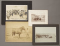 "Photography:Cabinet Photos, LOT OF FOUR CABINET CARDS COWBOYS, BUFFALOS, HORSES.1880-1910 . (1). Photo with cows, notation on verso. ""On the days round.... (Total: 1 Item)"