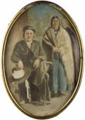 Photography:Studio Portraits, NATIVE AMERICAN INDIAN COWBOY WITH WIFE - FRAMED BUBBLE GLASSPORTRAIT ON TIN - ca. 1900. This is a fantastic and large imag...(Total: 1 Item)