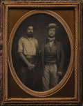 """Photography:Daguerreotypes, CALIFORNIA """"GOLD MINER"""" STANDING WITH MARYSVILLE GENTLEMAN. 1850s These rare daguerreotypes taken in the 1850's by both know... (Total: 1 Item)"""