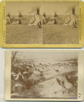 Photography:Cabinet Photos, A STEREOVIEW AND PHOTOGRAPH OF INDIAN CAMP SCENES. These twophotographs, one a stereoview of a Cheyenne Indian camp where b...