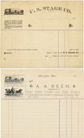 Western Expansion:Cowboy, (2) BLANK STAGECOACH LETTERHEADS, CALIFORNIA 1870's-1880's - A lotof (2) stagecoach receipts/letterheads. 1st. U. S. Stage... (Total:1 Item)