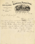 Western Expansion:Cowboy, STAGECOACH LETTERHEAD SANDERSON & PARKER & CO. 1871 -Oakland, 1871. This scarce Stagecoach letterhead with fantasticvignet... (Total: 1 Item)