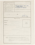 "Autographs:Statesmen, Robert F. Kennedy partly printed Document Signed ""Robert F.Kennedy,"" two pages, 8.5"" x 11"", front and verso. New York, ..."