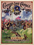 """Western Expansion:Cowboy, CUSTER'S LAST CHARGE & SHERIDAN'S RIDE MULTI COLOR (SONGSHEETS) 1922 - Beautiful Multi-Color song sheet. """"Custer's LastSta... (Total: 1 Item)"""