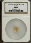 California Fractional Gold: , 1870 25C Liberty Octagonal 25 Cents, BG-713, R.4, MS64 NGC. NGCCensus: (1/4). PCGS Population (19/29). (#10540)...
