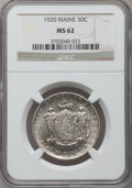 Commemorative Silver: , 1920 50C Maine MS62 NGC. NGC Census: (100/2641). PCGS Population(168/3263). Mintage: 50,028. Numismedia Wsl. Price for pro...