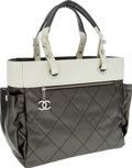 Luxury Accessories:Bags, Chanel Silver & White Canvas Paris-Biarritz Tote Bag. ...