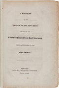 Miscellaneous:Booklets, Address to the Reader of the Documents relating to the Galveston Bay & Texas Land Company, which are contained in the Append...