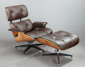 Furniture , CHARLES EAMES (American, 1907-1978) and RAY KAISER EAMES (1912-1988). Lounge chair and ottoman, 1956. Rosewood veneer, p... (Total: 2 Items)