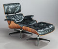 Furniture : American, CHARLES EAMES (American, 1907-1978) and RAY KAISER EAMES(1912-1988). Lounge chair and ottoman, 1956. Rosewoodveneer, p... (Total: 2 Items)