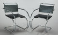 Furniture : Continental, MIES VAN DER ROHE (German, 1886-1969). Pair of MR Armchairs,1927. Stainless steel and leather. Each 31 x 21 x 32-1/2 in...(Total: 2 Items)