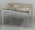 Furniture : American, FLORENCE KNOLL (American, b. 1917). Square End table (Model2514), 1954. Granite, chrome-plated steel. 17 x 27 x 27 inch...(Total: 2 Items)