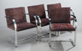 Furniture : Continental, MIES VAN DER ROHE (German, 1886-1969). Set of Four BrnoChairs, 1929. Suede upholstery, stainless steel. 32 x 23 x 22in... (Total: 4 Items)
