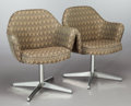 Furniture , A PAIR OF MID-CENTURY UPHOLSTERED ARMCHAIRS, circa 1950. 31-3/4 x 26-1/2 x 22 inches (80.6 x 67.3 x 55.9 cm). FROM THE EST... (Total: 2 Items)