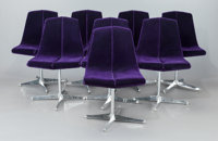 RICHARD SCHULTZ (American, b. 1926) Set of Eight Side Chairs (Model 149), 1960 Aluminum, upholstery<