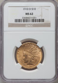 Indian Eagles: , 1910-D $10 MS62 NGC. NGC Census: (4766/3134). PCGS Population(3821/2970). Mintage: 2,356,640. Numismedia Wsl. Price for pr...