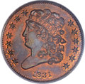 Proof Classic Head Half Cents, 1831 1/2 C Reverse of 1836 PR65 Red and Brown PCGS. CAC. B-2, HighR.5....