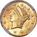 California Fractional Gold, Undated 25C Liberty Round 25 Cents, BG-222, R.2, MS67 NGC....