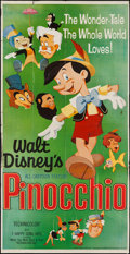 "Movie Posters:Animation, Pinocchio (Buena Vista, R-1962). Three Sheet (41"" X 82"").Animation.. ..."