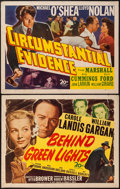 """Movie Posters:Mystery, Behind Green Lights & Other Lot (20th Century Fox, 1946). HalfSheets (2) (22"""" X 28""""). Mystery.. ... (Total: 2 Items)"""