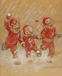 JESSIE WILLCOX SMITH (American, 1863-1935) Children Playing in the Snow Mixed media on board 20 x