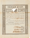 Autographs:Statesmen, Stephen F. Austin, Branch T. Archer, and William H. Wharton: FirstTexian Loan Certificate Signed....