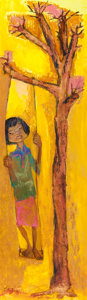 Texas:Early Texas Art - Modernists, JUANITA TITTLE POLLARD (American, 1909-1994). Girl on a TreeSwing. Oil on masonite. 36 x 10-1/2 inches (91.4 x 26.7 cm)...