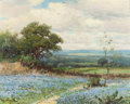 Texas:Early Texas Art - Regionalists, ROBERT WILLIAM WOOD (American, 1889-1979). Bluebonnet Hills,circa late 1950s. Oil on canvas. 16 x 20 inches (40.6 x 50....