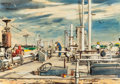 "Texas:Early Texas Art - Modernists, EDWARD MUEGGE ""BUCK"" SCHIWETZ (American, 1898-1984). Oil Pumpingin East Texas. Mixed media on paper. 9-1/4 x 13-1/4 inc..."