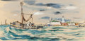 """Paintings, EDWARD MUEGGE """"BUCK"""" SCHIWETZ (American, 1898-1984). Heading for Open Waters. Mixed media on paper. 6-3/4 x 13-7/8 inche..."""