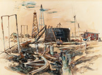 """EDWARD MUEGGE """"BUCK"""" SCHIWETZ (American, 1898-1984) Pumping for Oil, 1951 Mixed media on paper 15"""