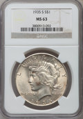 Peace Dollars: , 1935-S $1 MS63 NGC. NGC Census: (644/1377). PCGS Population(1114/2176). Mintage: 1,964,000. Numismedia Wsl. Price for prob...