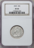 Bust Quarters: , 1833 25C XF45 NGC. NGC Census: (31/99). PCGS Population (25/82). Mintage: 156,000. Numismedia Wsl. Price for problem free N...