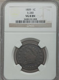 Large Cents: , 1809 1C VG8 NGC. S-280. NGC Census: (4/45). PCGS Population(12/85). Mintage: 222,867. Numismedia Wsl. Price for problem fr...
