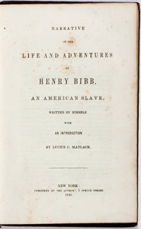 [Slave Autobiography]. Henry Bibb. Narrative of His Life and Adventures. New York: N.p. [self-p