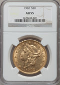 Liberty Double Eagles: , 1902 $20 AU55 NGC. NGC Census: (25/458). PCGS Population (45/506).Mintage: 31,140. Numismedia Wsl. Price for problem free ...