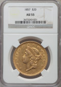 Liberty Double Eagles: , 1857 $20 AU55 NGC. NGC Census: (102/139). PCGS Population (37/91).Mintage: 439,375. Numismedia Wsl. Price for problem free...