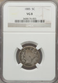 Liberty Nickels: , 1885 5C VG8 NGC. NGC Census: (27/404). PCGS Population (54/751).Mintage: 1,476,490. Numismedia Wsl. Price for problem free...