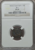 Bust Dimes, 1824/2 10C Flat Top VF25 NGC. JR-1. NGC Census: (4/49). PCGSPopulation (4/43). Mintage: 100,000. Numismedia Wsl. Price for...