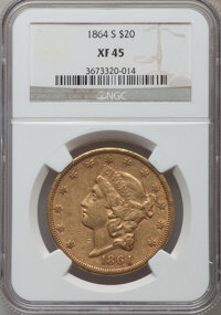 1864-S $20 XF45 NGC. NGC Census: (196/425). PCGS Population (122/231). Mintage: 793,660. Numismedia Wsl. Price for probl...