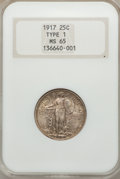 Standing Liberty Quarters: , 1917 25C Type One MS65 NGC. NGC Census: (181/37). PCGS Population (213/38). Mintage: 8,740,000. Numismedia Wsl. Price for p...