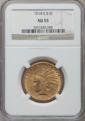 Indian Eagles: , 1914-S $10 AU55 NGC. NGC Census: (140/763). PCGS Population(101/675). Mintage: 208,000. Numismedia Wsl. Price for problem ...