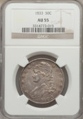 Bust Half Dollars: , 1833 50C AU55 NGC. NGC Census: (194/671). PCGS Population(228/546). Mintage: 5,206,000. Numismedia Wsl. Price for problem...