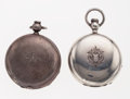 Timepieces:Pocket (pre 1900) , Hampden & Waltham Hunter Cases Key Wind Pocket Watches Runners.... (Total: 2 Items)
